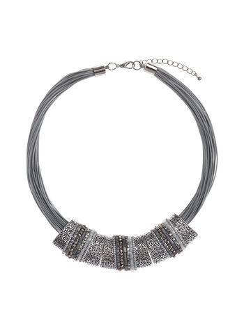 Textured Metallic Necklace, , hi-res