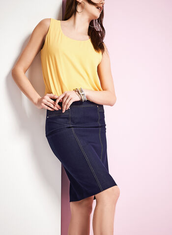 Denim Pencil Skirt , , hi-res