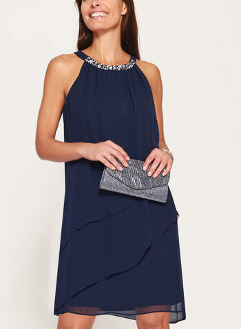 Cleo Neck Tiered Chiffon Dress, , hi-res