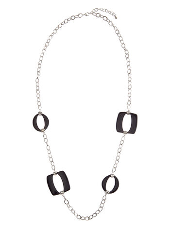 Geometric Ring Chain Necklace , , hi-res