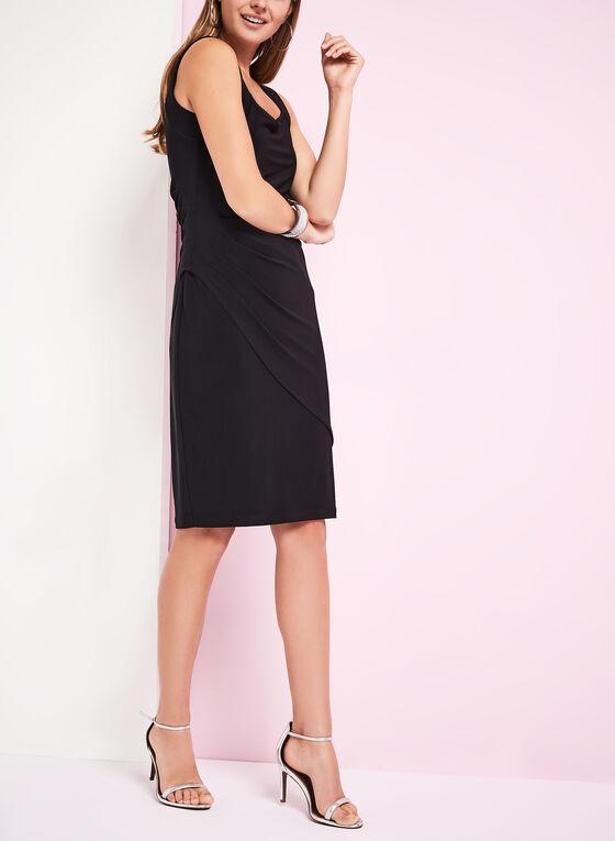 Picadilly - Sleeveless Side Tuck Jersey Dress, Black, hi-res