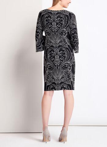 Robe à motif vintage texturé et manches cloche, , hi-res