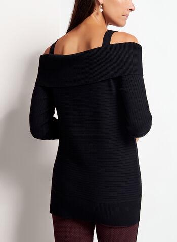 Pull tricot à épaules dénudées et zips dorés, Noir, hi-res