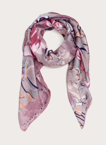 Abstract Print Oblong Scarf, , hi-res