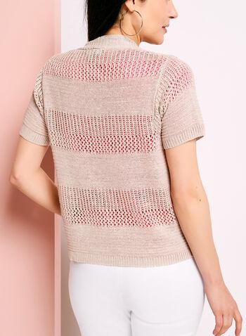 Short Sleeve Pointelle Linen Cardigan, , hi-res
