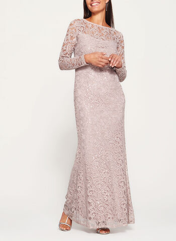 Long Sleeve Sequin Lace Dress, , hi-res