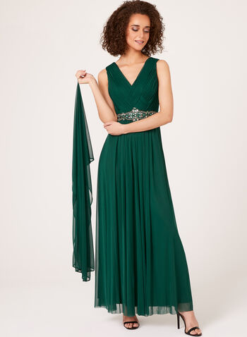 Beaded Empire Chiffon Gown with Scarf, , hi-res