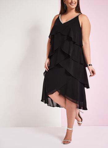 Tiered Beaded Neck Dress, , hi-res