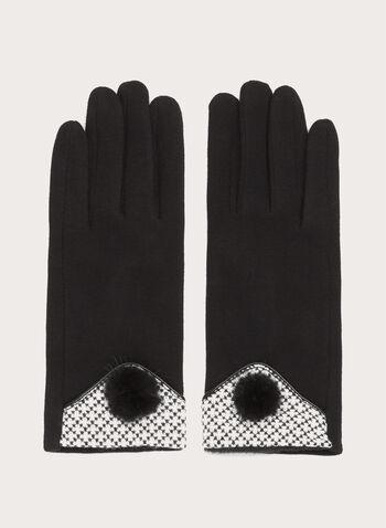 Mink Pompom Knit Gloves, , hi-res