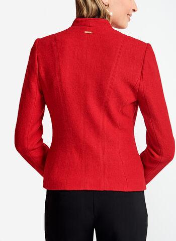 Zipper Trim Open Front Wool Jacket, , hi-res