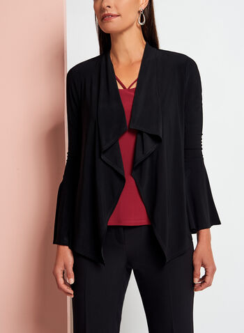 Cascade Front Bell Sleeve Cardigan, , hi-res