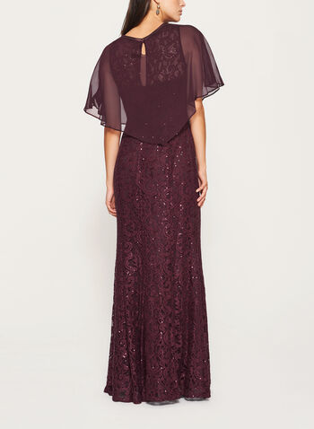 Sequin Lace Dress with Chiffon Poncho  , , hi-res