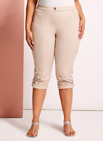 Modern Fit Capri Cargo Pants, Grey, hi-res