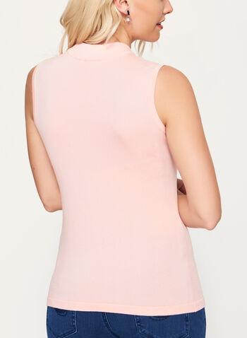 Mock Neck Jersey Knit Top, Pink, hi-res