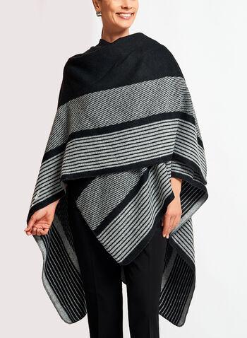 Stripe Print Poncho, , hi-res