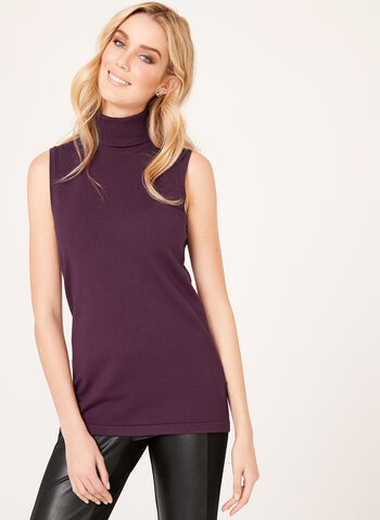 Sleeveless Turtleneck Sweater, Purple, hi-res