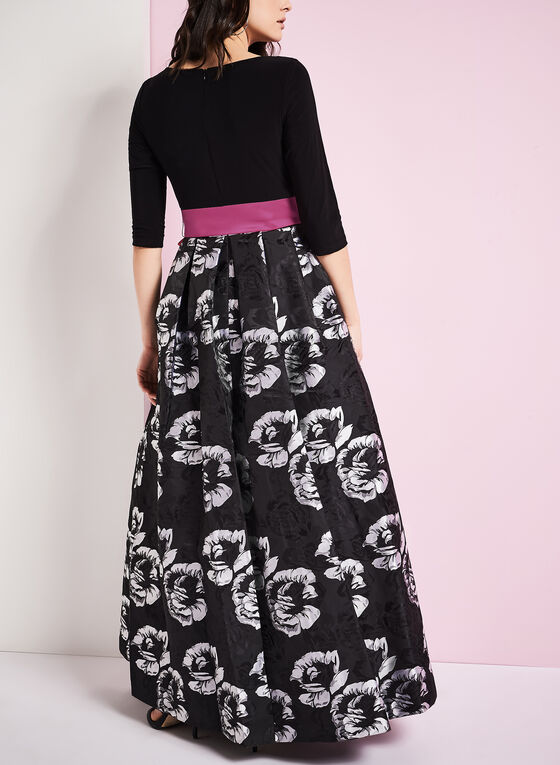 Jacquard Floral Print Evening Gown, Black, hi-res