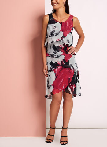 Tiered Floral Print Chiffon Dress, , hi-res