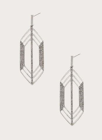 Elongated Geometric Crystal Earrings, , hi-res