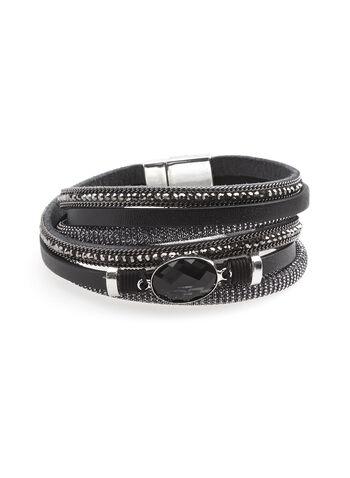 Mutli Row Faux Leather Bracelet , , hi-res