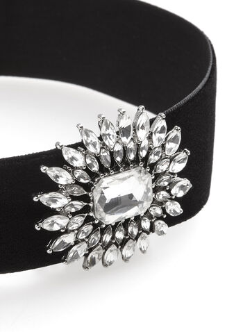 Velvet & Crystal Choker Necklace, , hi-res