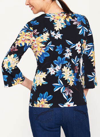 Jersey Floral Print 3/4 Bell Sleeve Top , , hi-res