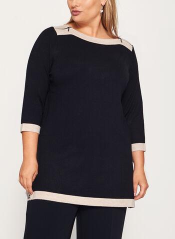 3/4 Sleeve Zipper Trim Knit Tunic Sweater , , hi-res