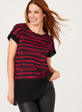 Asymmetric Stripe Print Tunic , , hi-res