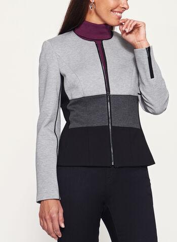 Colour Block Zipper Trim Ponte Jacket, , hi-res