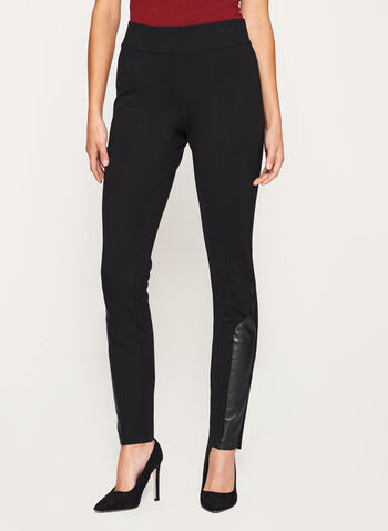 Faux Leather Trim Pull-On Leggings, , hi-res