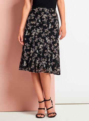 Floral Print Flared Midi Skirt, , hi-res