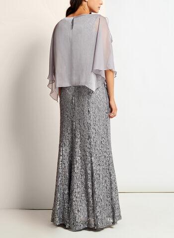 Sequin Lace Embellished Trim Dress, , hi-res