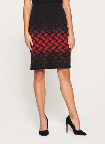 Geometric Print Pencil Skirt, , hi-res