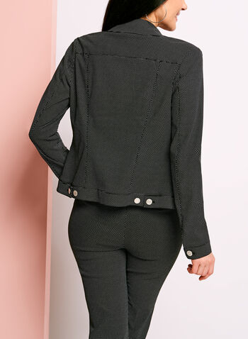 Dot Print Notch Collar Jacket, , hi-res