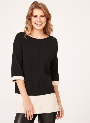 Colour Block Elbow Sleeve Sweater, , hi-res