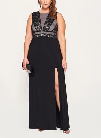 Glitter Lace Mesh Jersey Gown, , hi-res