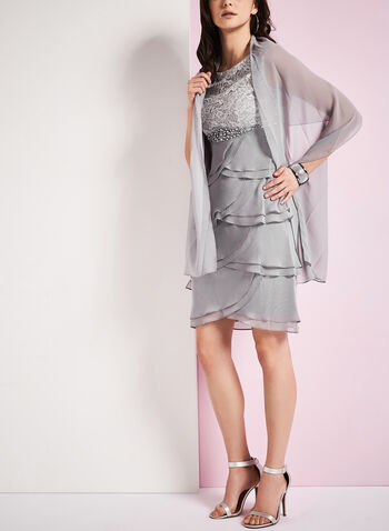 Lace & Chiffon Dress with Scarf , , hi-res
