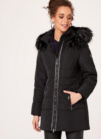Faux Leather Detail Faux Fur Collar Coat, , hi-res