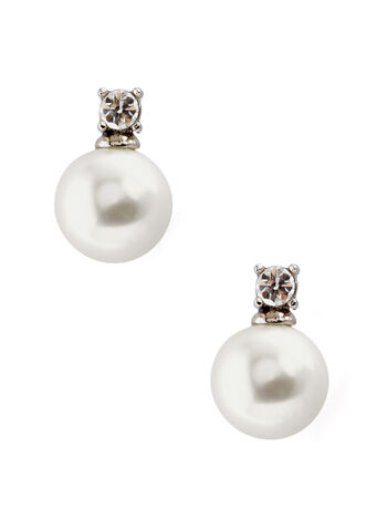 Crystal Pearl Stud Earrings, , hi-res