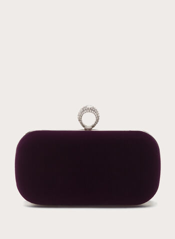 Crystal Ring Velvet Box Clutch, , hi-res