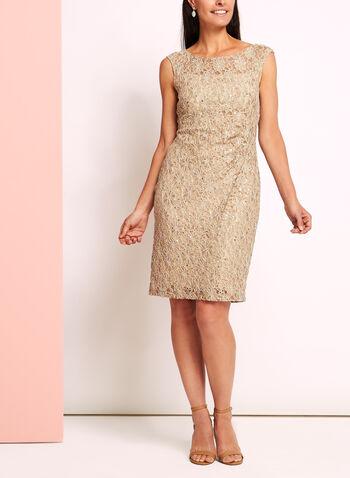 Sequin Lace Sunburst Pleated Dress, , hi-res
