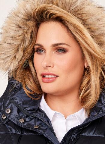 Faux Fur Trim Down Coat , , hi-res
