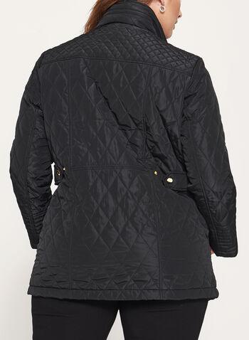 Diamond Quilted Hidden Hood Coat, , hi-res