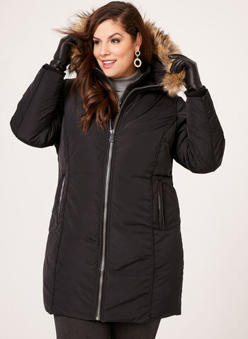 Hooded Faux Down Coat , , hi-res