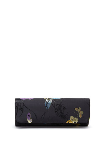 Embroidered Flapover Clutch , , hi-res