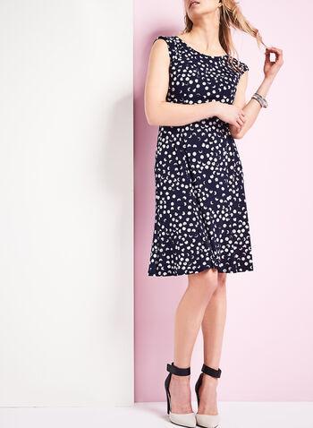 Jersey Belted Polka Dot Dress, , hi-res