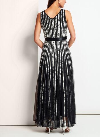 Sleeveless Floral Print Mesh & Satin Dress, , hi-res