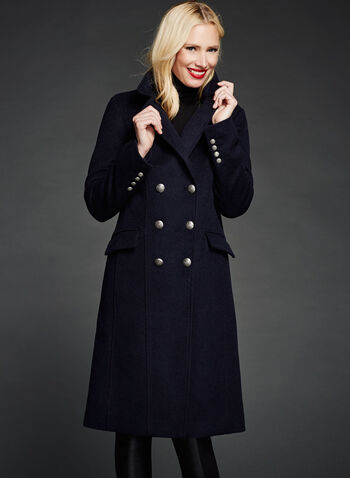 Double Breasted Wool Blend Coat, , hi-res