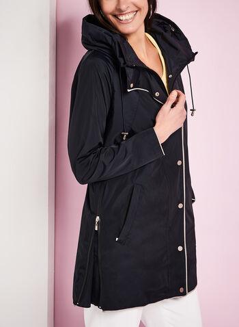Nuage Hooded Contrast Rain Coat, , hi-res