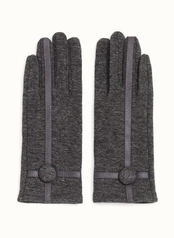 Leather Trim Knit Gloves, , hi-res